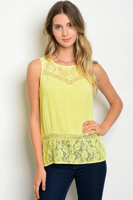 Yellow Scoop Neck Sleeveless Lace Tank Top