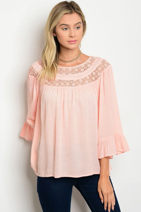 Peach Round Neck Lace Bell Sleeve Ruffle Top