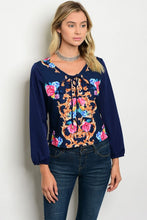 Navy Floral Print Long Sleeve Top