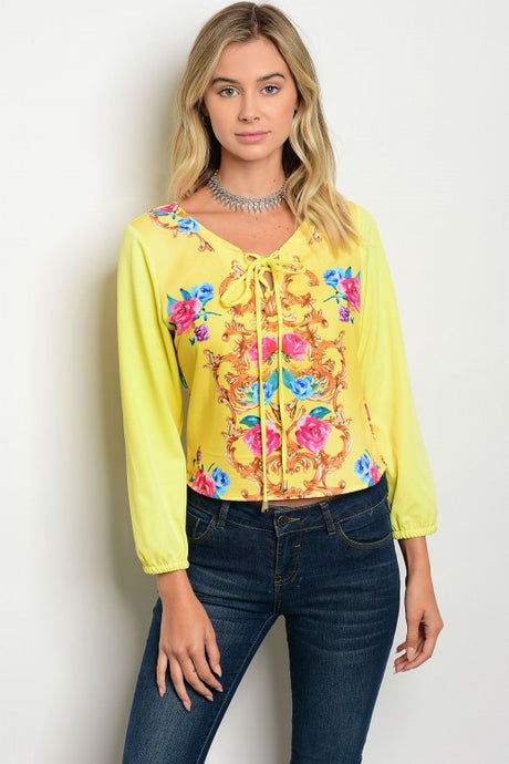 Yellow Floral Print Long Sleeve Top