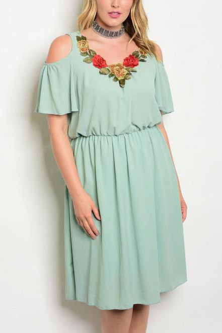 Sage Cold Shoulder Flower Detail Neckline Smoked Waist Dress - Plus Size