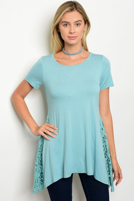 Mint Short Sleeve Side Lace Detail Tunic Top