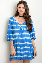 Blue & White Scoop Neck 3/4 Sleeve Tie Dye Tunic Cover Up