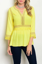 3/4 Sleeve Embroidered Yellow V-Neck Top