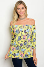 Yellow Floral Off Shoulder Tunic Top