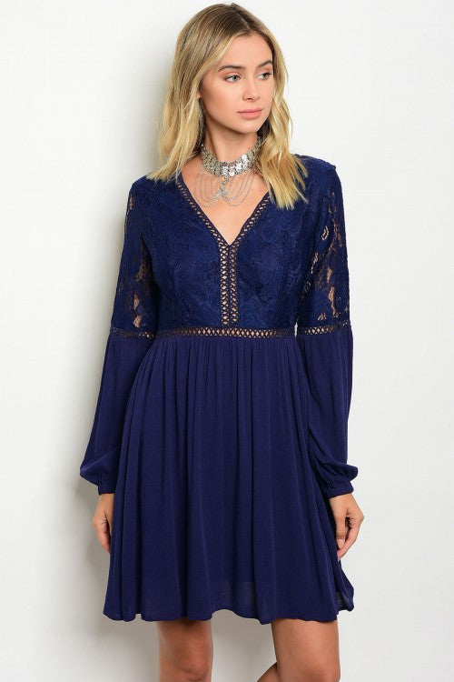 Navy V-Neck Long Sleeve Lace Mini Dress