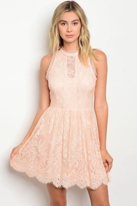 Peach Round Neck Sleeveless Lace Mini Dress