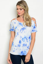 White & Blue Cold Shoulder Tie Dye Top