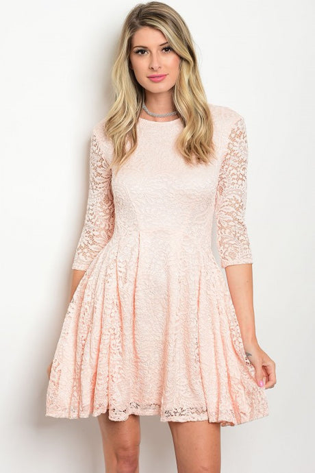 Light Peach 3/4 Sleeve Lace Mini Skater Dress