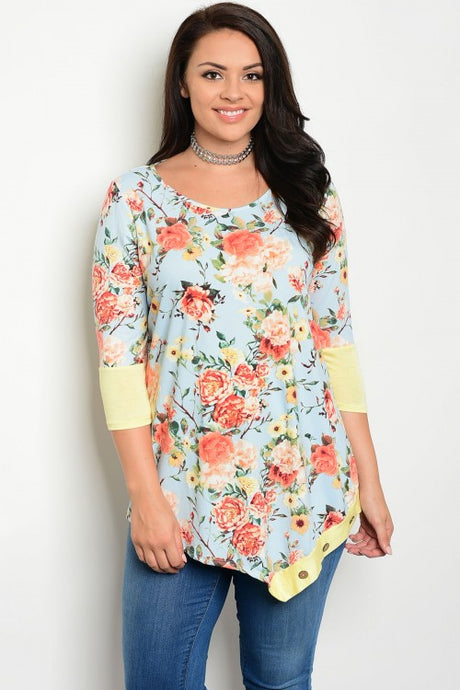 Light Blue Floral Print Yellow 3/4 Sleeve Tunic Top - Plus Size