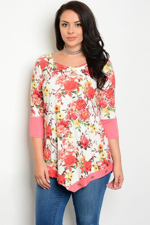 Ivory Floral Print Coral 3/4 Sleeve Tunic Top - Plus Size