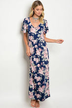 Navy Pink Floral Angel Sleeve Maxi Dress