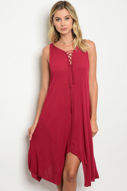 Burgundy Sleeveless Lace Up Front Crochet Lace Back Tunic Dress