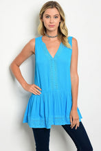 Turquoise Sleeveless Crochet & Plated Detail Tunic Top