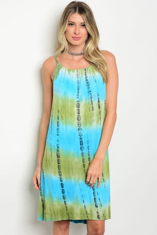 Blue Green Tie Dye Sun Dress