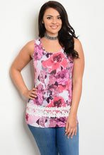 Pink Floral Print Sleeveless Crochet Detail Top