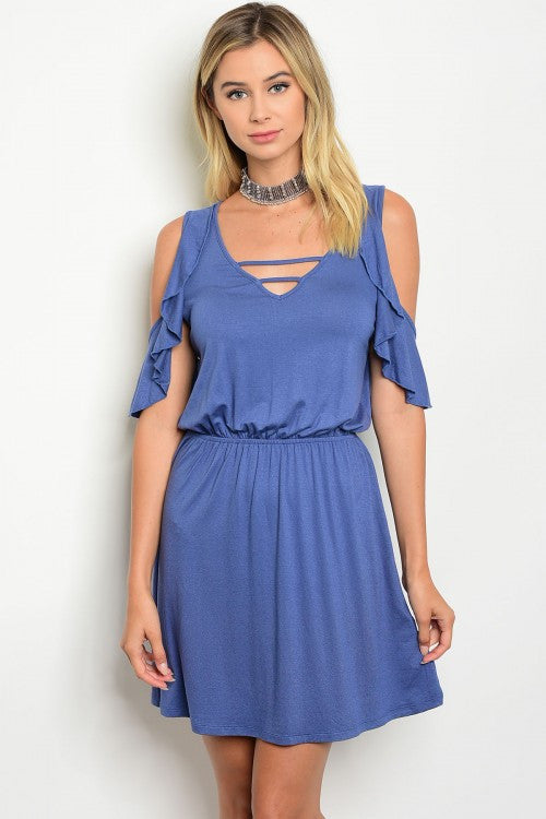 Blue Cold Shoulder Ruffle Detail Smoked Waist Jersey Mini Dress