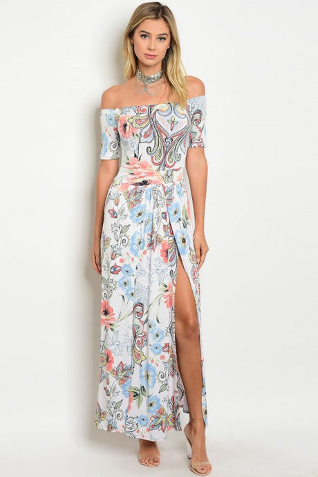 Off White Floral Print Off The Shoulder Maxi Dress
