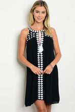 Black White Sleeveless Embroidered Yolk Tie Shift Dress