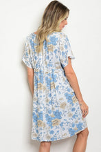Off White Blue Floral Short Boho Tunic Dress