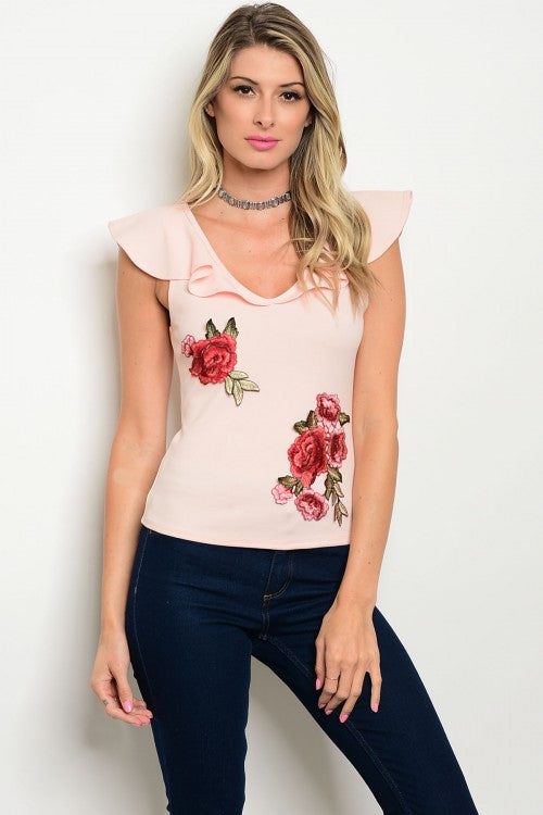 Light Pink Embroidered Flower Ruffle Top