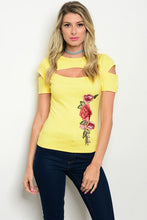 Yellow Embroidered Flower Short Sleeve Top