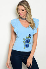 Light Blue Embroidered Flower Ruffle Top