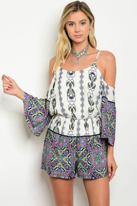 Ivory Multicolor Print Off Shoulder Long Sleeves Romper