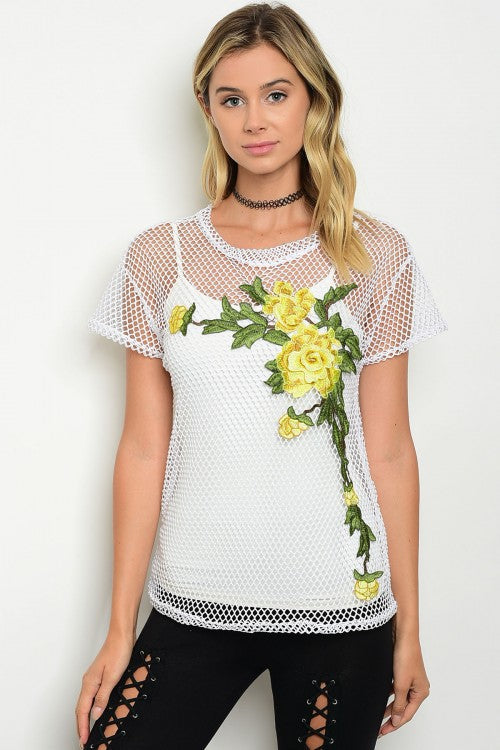 White Embroidered Flower Mesh Top
