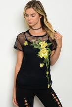 Embroidered Flower Black Mesh Top