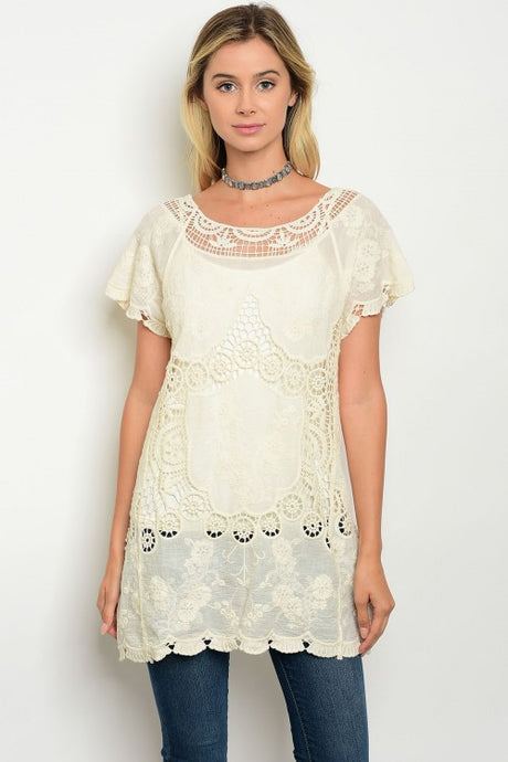 Natural Short Sleeve Crochet Lace Tunic Top