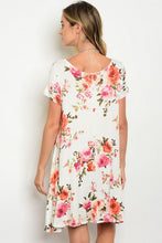 Ivory Floral Print Short Sleeve Loose Tunic Dress