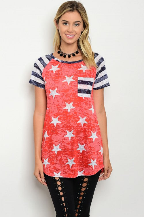 American Flag Short Sleeve Tunic Top