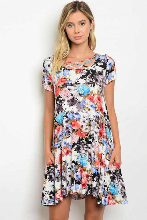 Ivory Coral Short Sleeve Floral Print Jersey Tunic Dress