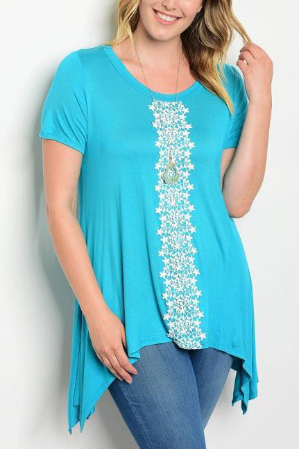 Turquoise Lace Detail Handkerchief Top - Plus Size