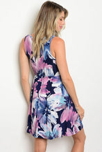 Navy Multicolor Floral Print Sleeveless Elastic Waist Dress