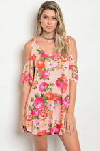 Peach Pink Floral Print Cold Shoulder Tunic Dress