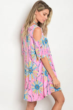 Pink and Blue Cold Shoulder Feather Print Tunic Dress