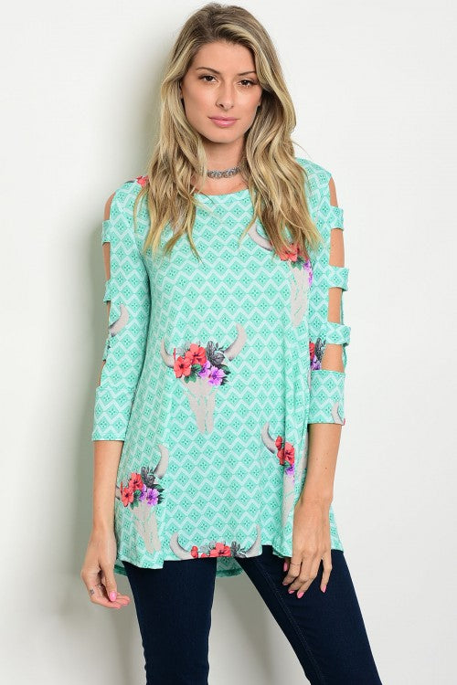 Mint Printed Cut Out 3/4 Sleeve Jersey Tunic Top