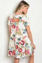 Loose Fit Ivory Red Floral Print Short Sleeve Tunic Dress