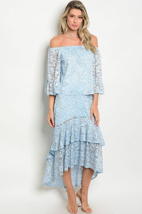Light Blue Off Shoulder Ruffle Top and Hi-Low Skirt Set