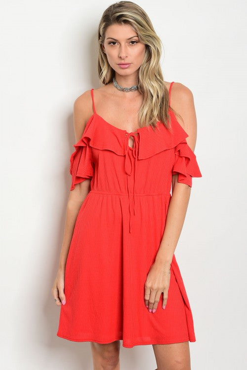 Red Off Shoulder Ruffle Detail Smoked Waist Jersey Mini Dress