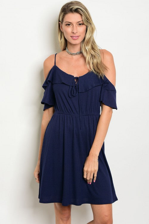 Navy Off Shoulder Ruffle Detail Smoked Waist Jersey Mini Dress
