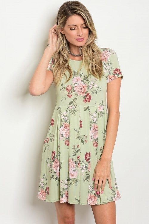 Sage Floral Print Short Sleeve Jersey Mini Dress