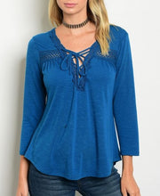 Teal Lace Up V-Neck Lace Detail Knit Top