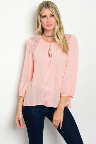 Blush Pink Lace Detail 3/4 Sleeve Blouse