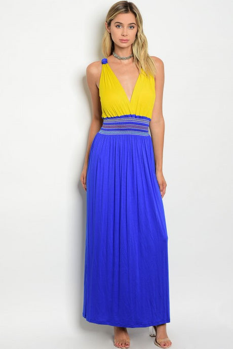 Color Block Mustard Blue Smoked Waist Jersey Maxi Dress