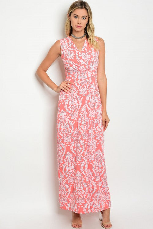 Coral White Damask Print Sleeveless Jersey Maxi Dress