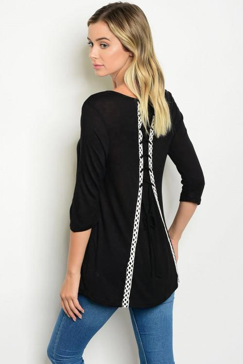 Black 3/4 Sleeve Back Lace Up Detail Scoop Neck Top