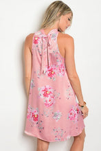 Pink Mock Neck Sleeveless Floral Satin Tunic Dress